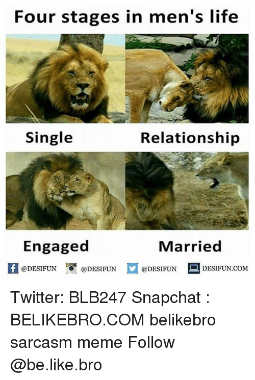 Be Like, Life, and Meme: Four stages in men's life  Single  Relationship  Engaged  Married  1  @DESIFUN @DESIFUN  @DESIFUN DESIFUN.COM Twitter: BLB247 Snapchat : BELIKEBRO.COM belikebro sarcasm meme Follow @be.like.bro