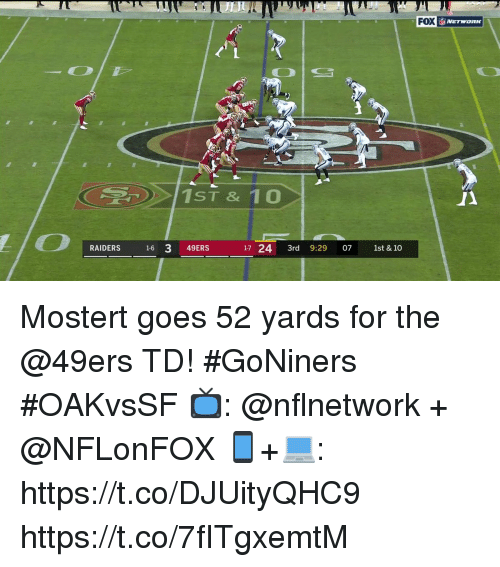 San Francisco 49ers, Memes, and Raiders: FOX  1ST & 10  RAIDERS 16 3 49ERS  17 24 3rd 9:29 07 1st & 10 Mostert goes 52 yards for the @49ers TD! #GoNiners #OAKvsSF  📺: @nflnetwork + @NFLonFOX 📱+💻: https://t.co/DJUityQHC9 https://t.co/7fITgxemtM
