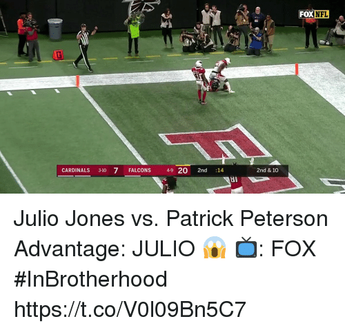 Memes, Cardinals, and Falcons: FOX  CARDINALS 3-10 7 FALCONS 4-9 20 2nd 14  2nd & 10 Julio Jones vs. Patrick Peterson  Advantage: JULIO 😱  📺: FOX #InBrotherhood https://t.co/V0l09Bn5C7