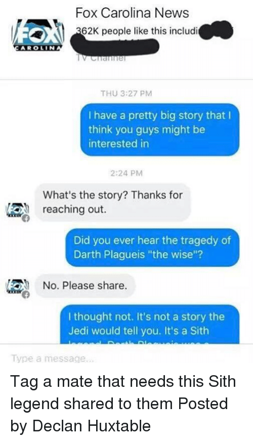 Did You Ever Hear The Tragedy Of Darth Plagueis The Wise
