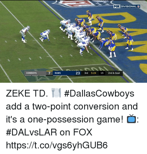 Dallas Cowboys, Memes, and Game: FOX  DIVISIONAL  COWBOYS  7 RAMS  23 3rd 5:24 15 2nd & Goal ZEKE TD. 🍽  #DallasCowboys add a two-point conversion and it's a one-possession game!  📺: #DALvsLAR on FOX https://t.co/vgs6yhGUB6