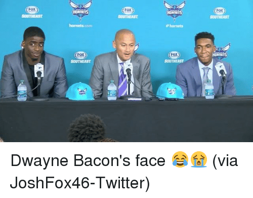Sports, Twitter, and Fox: FoX  FOX  FoX  HORNEIS  SOUTHEAST  rm  P hornets  FoX  FOX  SOUTHEAST  SOUTHEAST Dwayne Bacon's face 😂😭 (via JoshFox46-Twitter)