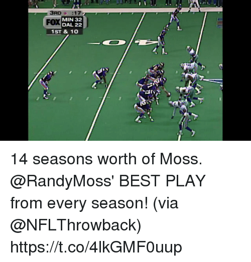 Memes, Best, and 🤖: FOX  MIN 32  DAL 22  1ST & 10 14 seasons worth of Moss.  @RandyMoss' BEST PLAY from every season! (via @NFLThrowback) https://t.co/4lkGMF0uup
