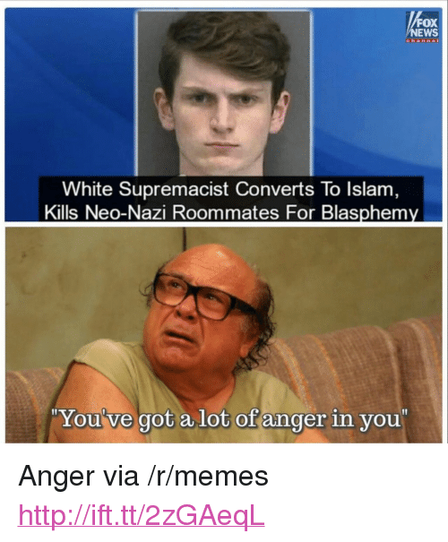 "Memes, News, and Fox News: FOX  NEWS  channe  White Supremacist Converts To Islam  Kills Neo-Nazi Roommates For Blasphemy  You've got alot of anger in you <p>Anger via /r/memes <a href=""http://ift.tt/2zGAeqL"">http://ift.tt/2zGAeqL</a></p>"