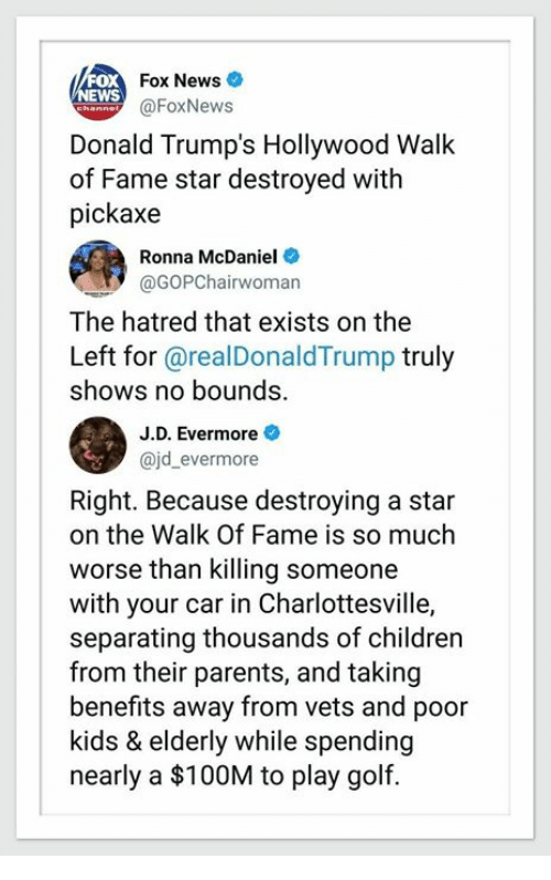 Children, News, and Parents: Fox News  EWS  @FoxNews  Donald Trump's Hollywood Walk  of Fame star destroyed with  pickaxe  Ronna McDaniel  @GOPChairwoman  The hatred that exists on the  Left for @realDonaldTrump truly  shows no bounds.  J.D. Evermore  ajd_evermore  Right. Because destroying a star  on the Walk Of Fame is so much  worse than killing someone  with your car in Charlottesville,  separating thousands of children  from their parents, and taking  benefits away from vets and poor  kids & elderly while spending  nearly a $100M to play golf.