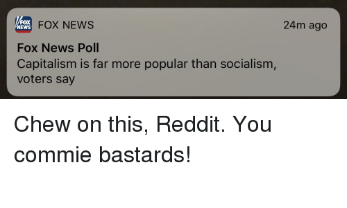 News, Reddit, and Capitalism: FOX  NEWS  FOX NEWS  24m ago  Fox News Poll  Capitalism is far more popular than socialism  voters say