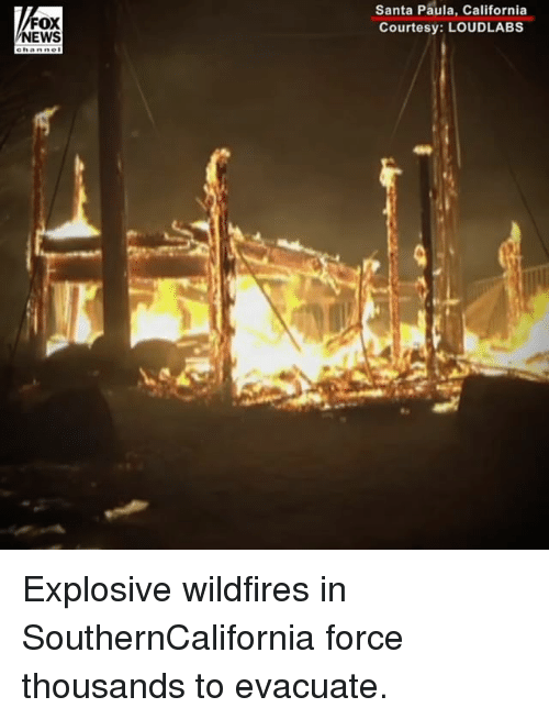 Memes, News, and California: FOX  NEWS  Santa Paula, California  Courtesy: LOUDLABS Explosive wildfires in SouthernCalifornia force thousands to evacuate.