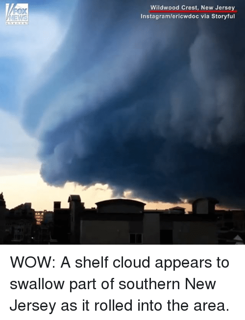 Instagram, Memes, and News: FOX  NEWS  Wildwood Crest, New Jersey  Instagram/ericwdoc via Storyful WOW: A shelf cloud appears to swallow part of southern New Jersey as it rolled into the area.