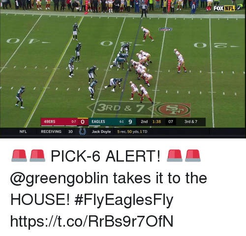 Philadelphia Eagles, Memes, and Nfl: FOX NFL  07 O EAGLES  NFL  RECEIVING 10  Jack Doyle  5 rec, 50 yds, 1 TD 🚨🚨 PICK-6 ALERT! 🚨🚨  @greengoblin takes it to the HOUSE! #FlyEaglesFly https://t.co/RrBs9r7OfN