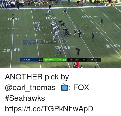 Dallas Cowboys, Memes, and Nfl: FOX  NFL  10  20  COWBOYS 11 13 SEAHAWKS 0-2 24 4th 3:17 24 1st & 10 ANOTHER pick by @earl_thomas!  📺: FOX #Seahawks https://t.co/TGPkNhwApD