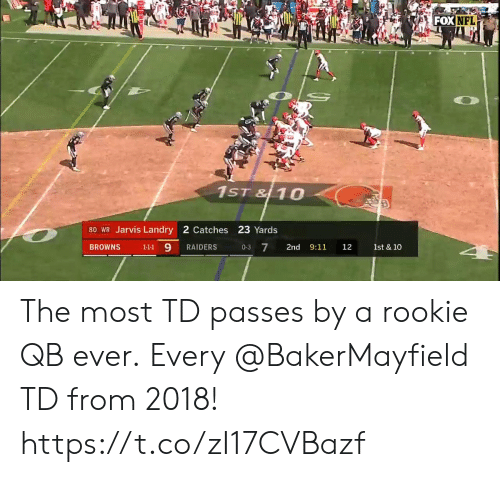 9/11, Memes, and Nfl: FOX  NFL  1ST & 10  80 WR Jarvis Landry 2 Catches 23 Yards  BROWNS 111 9 RAIDERS 03 7 2nd 9:11 12 1st & 10 The most TD passes by a rookie QB ever.  Every @BakerMayfield TD from 2018! https://t.co/zI17CVBazf
