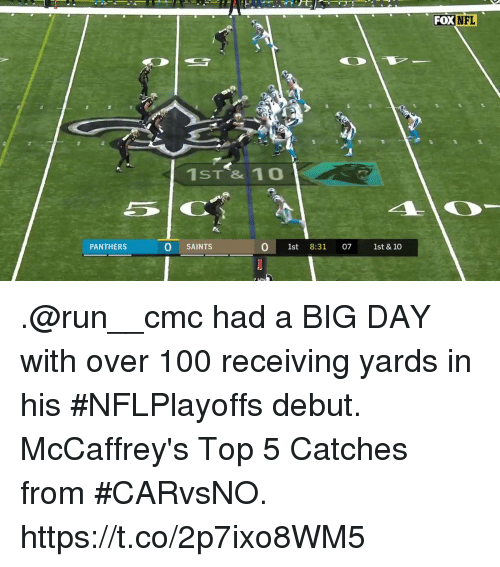 Anaconda, Memes, and Nfl: FOX  NFL  1ST & 10o  PANTHERS  O SAINTS  0 1st 8:31 07 1st & 10 .@run__cmc had a BIG DAY with over 100 receiving yards in his #NFLPlayoffs debut.  McCaffrey's Top 5 Catches from #CARvsNO. https://t.co/2p7ixo8WM5
