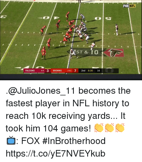 Memes, Nfl, and Browns: FOX NFL  20  ST & 1O  FALCONS 4-4 3 BROWNS 2-61 72nd 8:30 16 .@JulioJones_11 becomes the fastest player in NFL history to reach 10k receiving yards... It took him 104 games!  👏👏👏  📺: FOX #InBrotherhood https://t.co/yE7NVEYkub