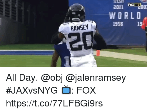 Memes, Nfl, and World: FOX  NFL  201 Fox  WORLD  1956 19  0x  RAMSEY  20 All Day. @obj @jalenramsey #JAXvsNYG  📺: FOX https://t.co/77LFBGi9rs