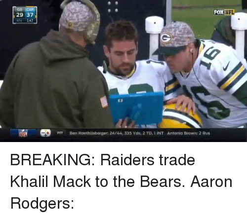 Aaron Rodgers, Ben Roethlisberger, and Nfl: FOX  NFL  29 37  4TH 1:47  E3  PIT  Ben Roethlisberger: 24/44, 335 Yds, 2 TD, IINT  Antonio Brown: 2 Rus BREAKING: Raiders trade Khalil Mack to the Bears.   Aaron Rodgers: