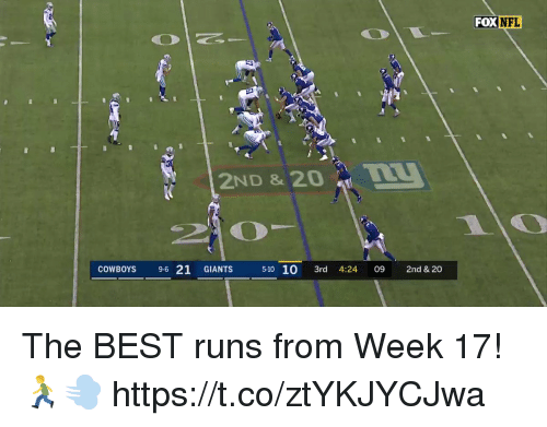 Dallas Cowboys, Memes, and Nfl: FOX NFL  2ND & 20  COWBOYS 9-6 21 GIANTS 510 10 3rd 4:24 09 2nd & 20 The BEST runs from Week 17! 🏃💨 https://t.co/ztYKJYCJwa