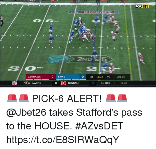 Memes, Nfl, and Bengals: FOX  NFL  2ND 5  2P  2  CARDINALS  0 LIONS  0 1ST 11:28 :09 2ND &5  RAVENS  0 183 BENGALS  0  1st QTR  12:38 🚨🚨 PICK-6 ALERT! 🚨🚨  @Jbet26 takes Stafford's pass to the HOUSE. #AZvsDET https://t.co/E8SIRWaQqY