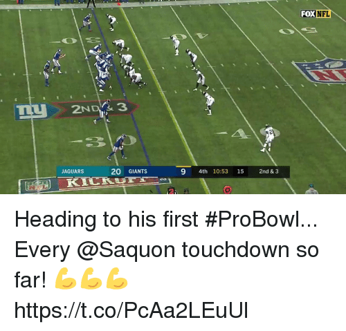 Memes, Nfl, and Giants: FOX NFL  2NDY& 3  JAGUARS  20 GIANTS  9 4th 10:53 15 2nd & 3 Heading to his first #ProBowl...  Every @Saquon touchdown so far! 💪💪💪 https://t.co/PcAa2LEuUl