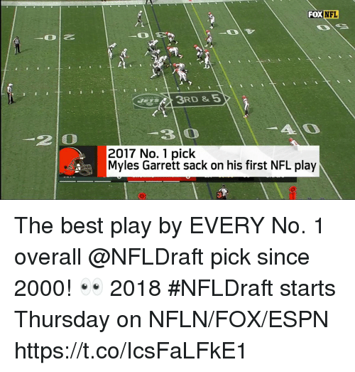 Espn, Memes, and Nfl: FOX  NFL  3 0  2 0  2017 No. 1 pick  Myles Garrett sack on his first NFL play The best play by EVERY No. 1 overall @NFLDraft pick since 2000! 👀   2018 #NFLDraft starts Thursday on NFLN/FOX/ESPN https://t.co/IcsFaLFkE1