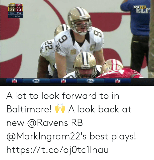 Memes, Nfl, and Baltimore: FOX NFL  3-4 1-6  21 10  2ND 5:56  1ST & 10  FOX  FOx  NEL A lot to look forward to in Baltimore! 🙌   A look back at new @Ravens RB @MarkIngram22's best plays! https://t.co/oj0tc1lnau