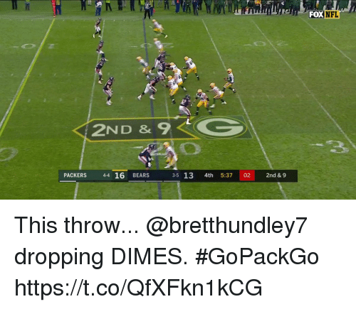 Memes, Nfl, and Bears: FOX NFL  36  2ND & 9 <-  PACKERS 44 16 BEARS  3-5 13 4th 5:37 02 2nd& 9 This throw...  @bretthundley7 dropping DIMES. #GoPackGo https://t.co/QfXFkn1kCG