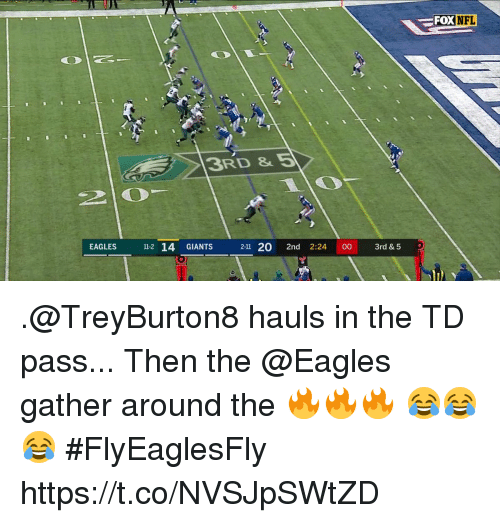 Philadelphia Eagles, Memes, and Nfl: FOX  NFL  3RD &5  EAGLES  11-2 14 GIANTS  2-11 20 2nd 2:24 00 3rd &5 .@TreyBurton8 hauls in the TD pass...  Then the @Eagles gather around the 🔥🔥🔥  😂😂😂 #FlyEaglesFly https://t.co/NVSJpSWtZD