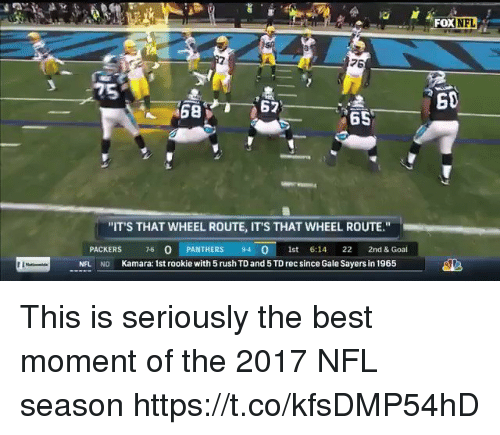 """Nfl, Best, and Goal: FOX  NFL  76  3 15  62  68  """"IT'S THAT WHEEL ROUTE, IT'S THAT WHEEL ROUTE.  PACKERS 76 0 PANTHERS 4 0 1st 6:14 22 2nd & Goal  NFL  NO  Kamara: 1st rookie with 5 rush TD and 5 TD rec since Gale Sayers in 1965 This is seriously the best moment of the 2017 NFL season https://t.co/kfsDMP54hD"""