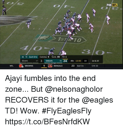 Philadelphia Eagles, Memes, and Nfl: FOX NFL  86 TE Zach Ertz Catches 9 Yards 99 TD1  BEARS  37 3 EAGLES 91 24 4th 13:50 10 1st & 10  9 1EB BENGALS 23 Ball On CIN 33  NFL  BROWNS Ajayi fumbles into the end zone... But @nelsonagholor RECOVERS it for the @eagles TD! Wow. #FlyEaglesFly https://t.co/BFesNrfdKW