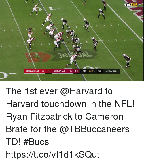 Memes, Nfl, and Ryan Fitzpatrick: FOX  NFL  9,  3RD  BUCCANEERS 2-2 6 CARDINALS 2-3 31 4th 13:41 06 3rd & Goal The 1st ever @Harvard to Harvard touchdown in the NFL!  Ryan Fitzpatrick to Cameron Brate for the @TBBuccaneers TD! #Bucs https://t.co/vI1d1kSQut