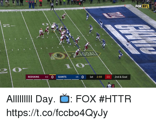 Memes, Nfl, and Washington Redskins: FOX NFL  GOAL  2  REDSKINS 42 0 GIANTS  16 O 1st 2:59 03 2nd & Goal Alllllllll Day.  📺: FOX #HTTR https://t.co/fccbo4QyJy