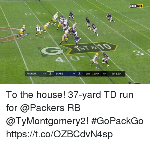 Memes, Nfl, and Run: FOX  NFL  PACKERS 44 3 BEARS  3-5 3 2nd 11:49 40 1st & 10 To the house!  37-yard TD run for @Packers RB @TyMontgomery2! #GoPackGo https://t.co/OZBCdvN4sp