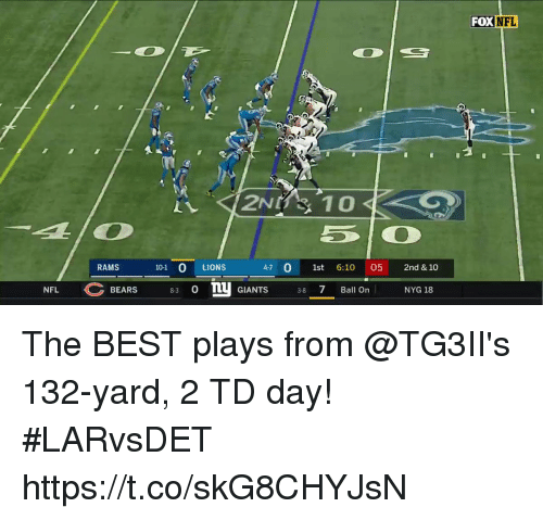 Memes, Nfl, and Bears: FOX NFL  RAMS  101 O LIONS  47 0 1st 6:10 05 2nd & 10  NFL C BEARS 83 OTU GIANTS 3-8-7-Banon  NYG 18 The BEST plays from @TG3II's 132-yard, 2 TD day! #LARvsDET https://t.co/skG8CHYJsN