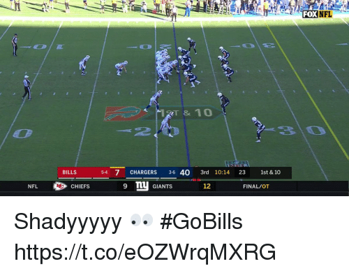 Memes, Nfl, and Chargers: FOX  NFL  RT & 10  BILLS  5-4 7 CHARGERS 3-6 40 3rd 10:14 23 1st & 10  NFLCHIEFS  q nu GIANTS  12  FINAL/OT Shadyyyyy 👀 #GoBills https://t.co/eOZWrqMXRG