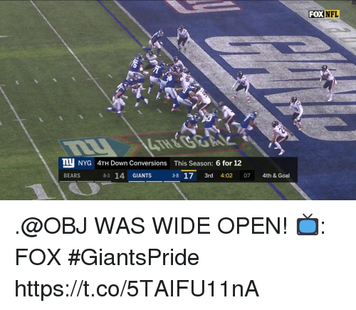 Memes, Nfl, and Bears: FOX NFL  TU NYG 4TH Down Conversions This Season: 6 for 12  BEARS  8-3 14 GIANTS  38 17 3rd 4:02 07 4th & Goal .@OBJ WAS WIDE OPEN!  📺: FOX #GiantsPride https://t.co/5TAIFU11nA