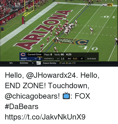 Hello, Memes, and Nfl: FOXN  FL  Current Drive Plays 8 Yards 66 4:25  BEARS  11 3 CARDINALS 02 14 3rd 6:21 07 1st & Goal  NFL RUSHING5 mu Saquon Barkley 17 rush, 82 vds, 1TD Hello, @JHowardx24. Hello, END ZONE!  Touchdown, @chicagobears!  📺: FOX #DaBears https://t.co/JakvNkUnX9