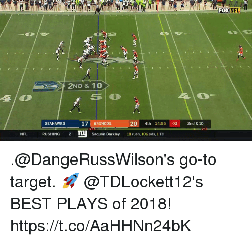Memes, Nfl, and Target: FOXNFL  2ND & 10  SEAHAWKS  17 BRONCOS  20 4th 14:55 03 2nd & 10  NFL RUSHING 2 TU Saquon Barkley 18 rush, 106 yds, 1 TD .@DangeRussWilson's go-to target. 🚀  @TDLockett12's BEST PLAYS of 2018! https://t.co/AaHHNn24bK