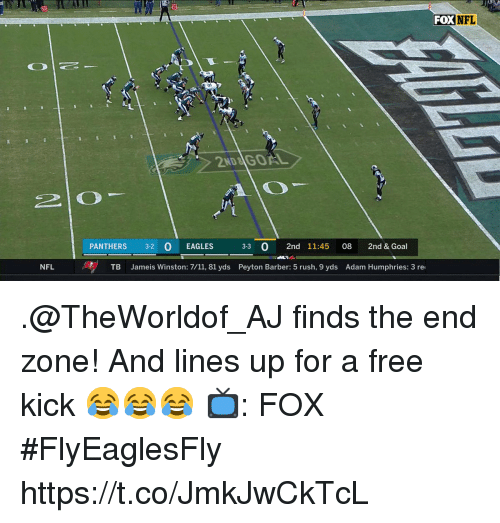 7/11, Barber, and Philadelphia Eagles: FOXNFL  2ND&İGOAL  PANTHERS 32 O EAGLES  33 0 2nd 11:45 08 2nd & Goal  NFL  TB Jameis Winston: 7/11, 81 yds Peyton Barber: 5 rush, 9 yds Adam Humphries: 3 re .@TheWorldof_AJ finds the end zone!  And lines up for a free kick 😂😂😂  📺: FOX #FlyEaglesFly https://t.co/JmkJwCkTcL
