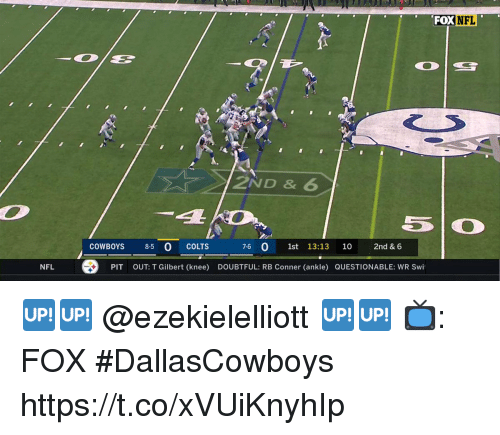 Indianapolis Colts, Dallas Cowboys, and Memes: FOXNFL  a.  2ND & 6  COWBOYS 8-5 0 COLTS  76 0 1st 13:13 10 2nd & 6  NFL  PIT  OUT: T Gilbert (knee)  DOUBTFUL: RB Conner (ankle) QUESTIONABLE: WR Swi 🆙🆙 @ezekielelliott 🆙🆙  📺: FOX #DallasCowboys https://t.co/xVUiKnyhIp