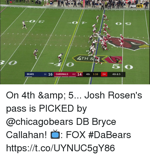 Memes, Nfl, and Bears: FOXNFL  NFL  0  4TH &IA  BEARS  11 16 CARDINALS 0-2 14 4th 1:16 04 4th & 5 On 4th & 5... Josh Rosen's pass is PICKED by @chicagobears DB Bryce Callahan!   📺: FOX #DaBears https://t.co/UYNUC5gY86