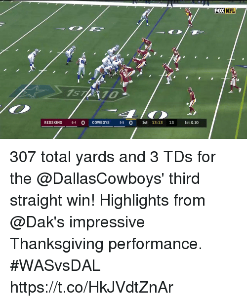 Dallas Cowboys, Memes, and Washington Redskins: FOXNFL  ST70  REDSKINS 64 O COWBOYS 5-5 O st 13:13 13 1st & 10 307 total yards and 3 TDs for the @DallasCowboys' third straight win!  Highlights from @Dak's impressive Thanksgiving performance. #WASvsDAL https://t.co/HkJVdtZnAr