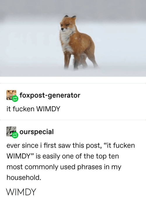"""Saw, Top, and One: foxpost-generator  it fucken WIMDY  ourspecial  ever since i first saw this post, """"it fucken  WIMDY"""" is easily one of the top ten  most commonly used phrases in my  household. WIMDY"""