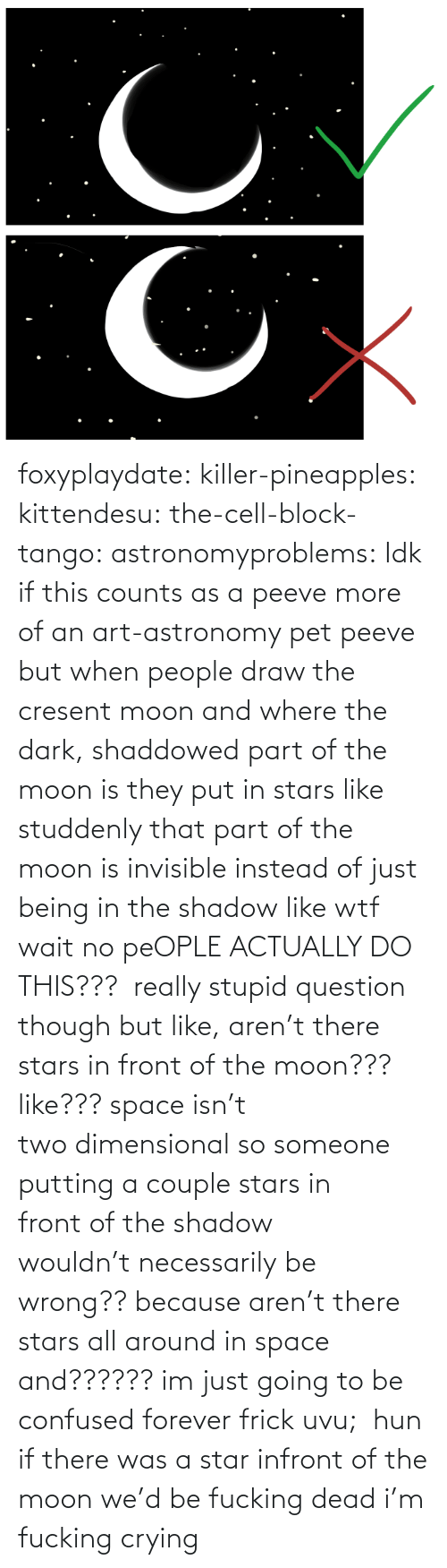 Confused, Crying, and Frick: foxyplaydate:  killer-pineapples:  kittendesu:  the-cell-block-tango:  astronomyproblems:  Idk if this counts as a peeve more of an art-astronomy pet peeve but when people draw the cresent moon and where the dark, shaddowed part of the moon is they put in stars like studdenly that part of the moon is invisible instead of just being in the shadow like wtf  wait no peOPLE ACTUALLY DO THIS???  really stupid question though but like, aren't there stars in front of the moon??? like??? space isn't twodimensionalso someone putting a couple starsin frontof the shadow wouldn'tnecessarilybe wrong?? because aren't there stars all around in space and?????? im just going to be confused forever frick uvu;  hun if there was a star infront of the moon we'd be fucking dead  i'm fucking crying