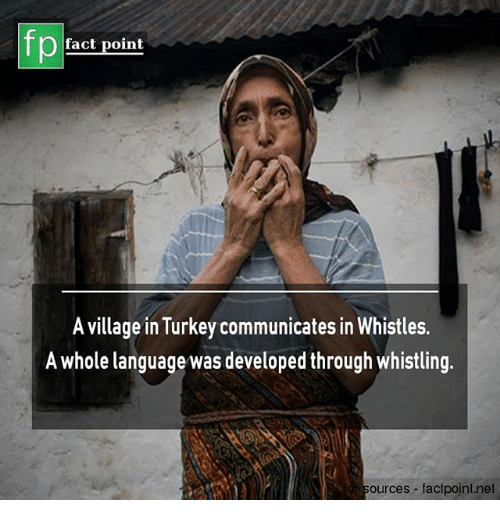 Memes, Turkey, and 🤖: fp  fact point  A village in Turkey communicates in Whistles.  A whole language was developed through whistling  ources -factpoint.net