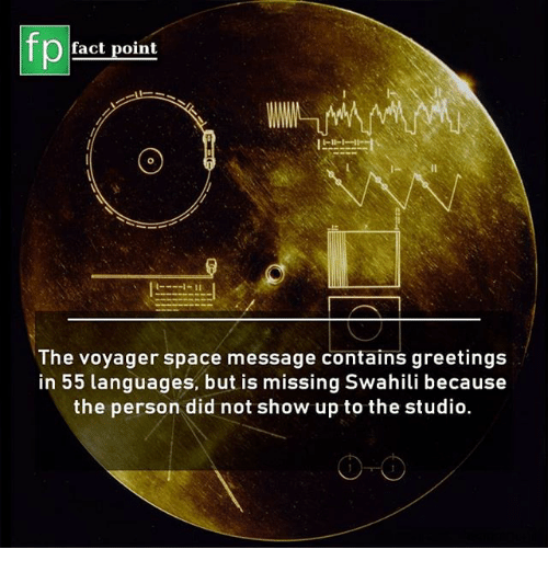 Memes, Space, and 🤖: fp  fact point  The voyager space message contains greetings  in 55 languages, but is missing Swahili because  the person did not show up to the studio.