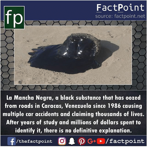 Memes, Black, and Venezuela: fp  FactPoint  source: factpoint.net  La Mancha Negra, a black substance that has oozed  from roads in Caracas, Venezuela since 1986 causing  multiple car accidents and claiming thousands of lives.  After years of study and millions of dollars spent to  identify it, there is no definitive explanation.