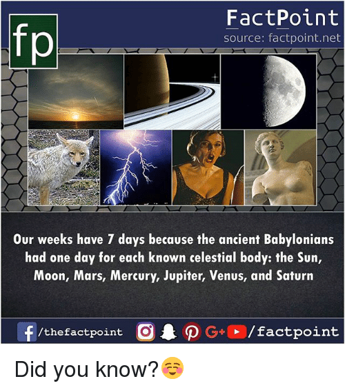 Memes, Jupiter, and Mars: fp  FactPoint  source: factpoint.net  Our weeks have 7 days because the ancient Babylonians  had one day for each known celestial body: the Sun,  Moon, Mars, Mercury, Jupiter, Venus, and Saturn  /the factpoint Did you know?☺