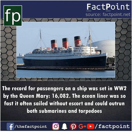 Memes, Queen, and Ocean: fp  FactPoint  source: factpoint.net  The record for passengers on a ship was set in WW2  by the Queen Mary: 16,082. The ocean liner was so  fast it often sailed without escort and could outrurn  both submarines and forpedoes