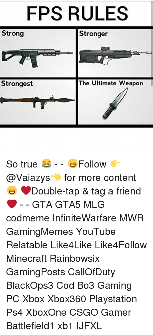 fps rules strong stronger strongest the ultimate weapon so true