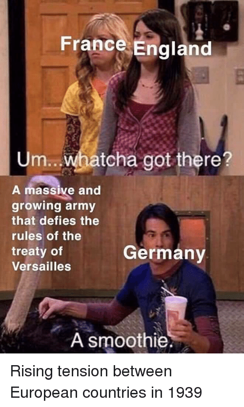 England, Army, and France: France England  Um.. Whatcha got there?  A massive and  growing army  that defies the  rules of the  treaty of  Versailles  Germanv  A smoothie. Rising tension between European countries in 1939
