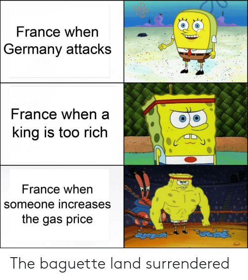 France, Germany, and Rance: France when  Germany attacks  rance when a  ing is too rich  France when  someone increases  the gas price The baguette land surrendered